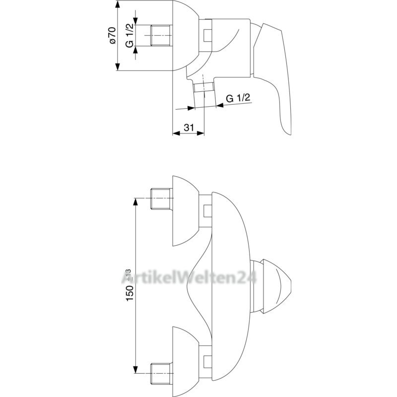ideal standard brausearmatur cerasprint new aufputz. Black Bedroom Furniture Sets. Home Design Ideas