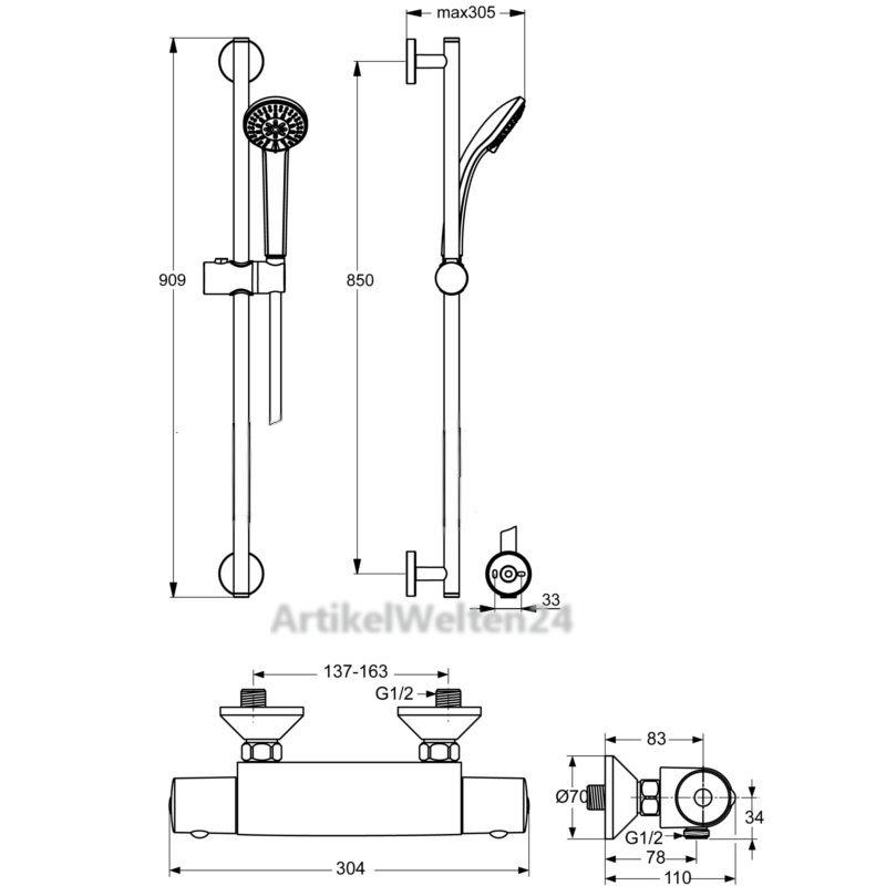 ideal standard idealrain s3 brausekombination 900mm a6176aa mit ceratherm 50. Black Bedroom Furniture Sets. Home Design Ideas