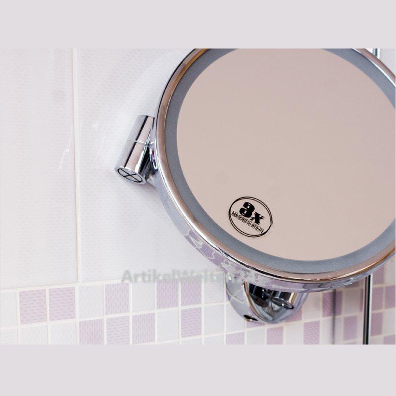 kosmetikspiegel mit gelenkarm 3 fach vergr erung 140mm badezimmerspiegel. Black Bedroom Furniture Sets. Home Design Ideas