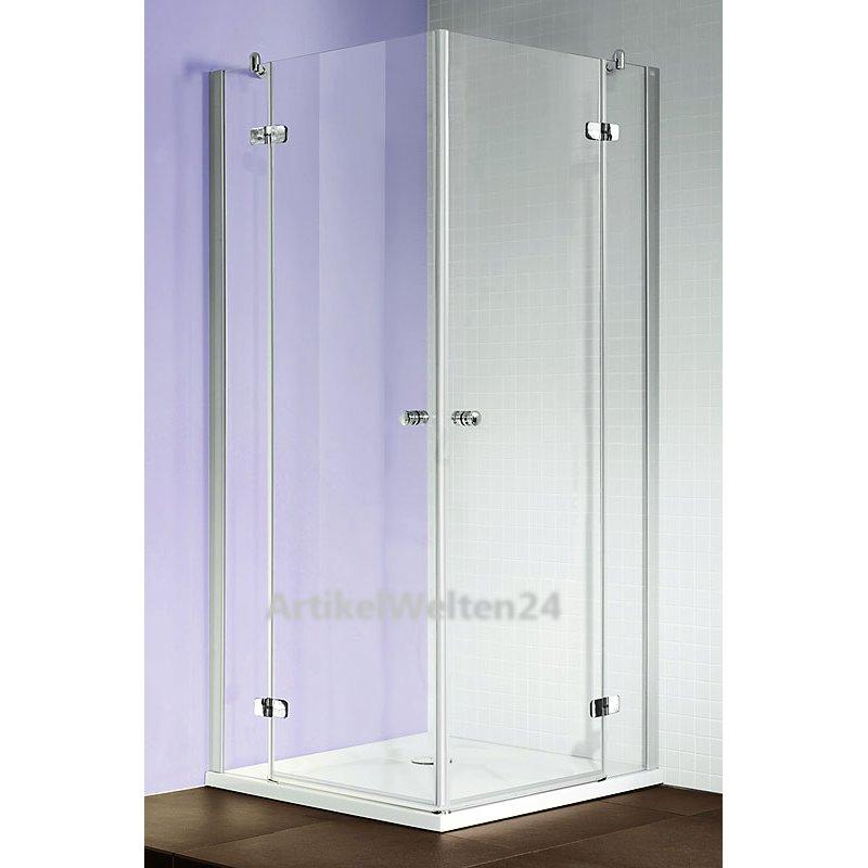 luxus eck duschkabine 2 tlg 80 cm x 80 cm ganzglas klappt r made in germany. Black Bedroom Furniture Sets. Home Design Ideas