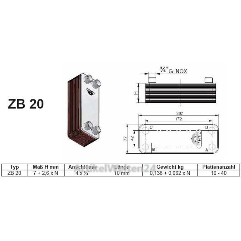 ZILMET Platten Wärmetauscher inkl. Isolierung 20-30 Platten, 4x3/4\